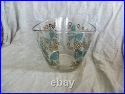 Large Fred Press MID Century Modern Salad Bowl And Tongs Gold Teal Butterflies