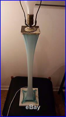 Large Mid Century Modern Vintage Blue Murano Glass Lamp