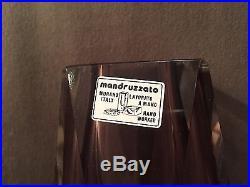 Large Murano Italy Mid-Century Modern Glass Mandruzzato Multi-Sided Vase