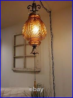Large Mushroom Amber Glass Globe Swag Hanging Crystals Light Mid Century Lamp