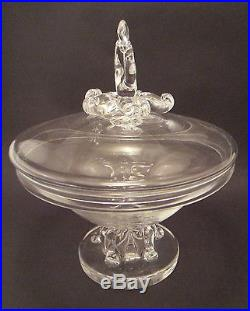 Large Signed Mid-Century Steuben Covered Compote Irene Benton Design