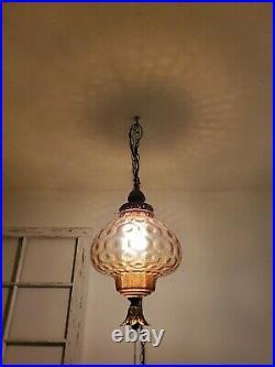 Large VTG Mushroom Amber Glass Globe Swag Hanging Light Mid Century Lamp