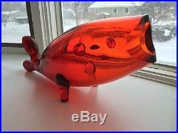 Large Vintage 17 Blenko red Art Glass Fish Whale Vase Mid Century Modern