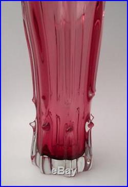 Large Vintage Italian Murano Cranberry Pink Cased Art Glass Vase MID Century