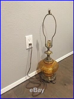 Large Vintage Mid Century Amber Glass Table Lamp Hollywood Regency