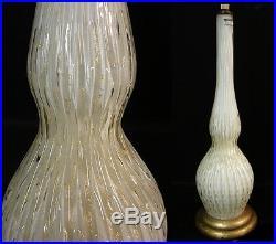 Large Vintage Mid Century Modern Italian Murano Aventurine Gold Glass Lamp Base