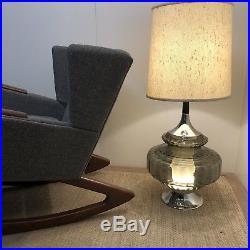 Large Vintage Mid Century Modern Smoked Glass & Chrome Tulip Light Up Base Lamp