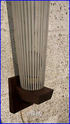 Large Vintage Mid Century Modern wall Lamp Glass Sconce Teak Danish Modern
