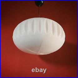Large Vintage White Milk Glass Opaline Pendant Ceiling Light Living Room Bedroom