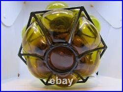 Large vintage Venetian blown glass ceiling shade mid century design amber
