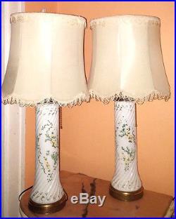 MAGNIFICENT ANTIQUE Mid Century MILK GLASS Table Lamps PAIR