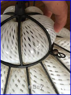 MIDCENTURY MURANO SEGUSO LATTICINO HANGING LAMP