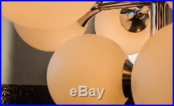 MID CENTURY 1960s 70s CHROME SPUTNIK CHANDELIER WITH 12 LIGHT WHITE OPAL GLASS