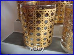 MID CENTURY BARWARE-8- GLASSES CULVER GOLD CANELLA BASKET WEAVE