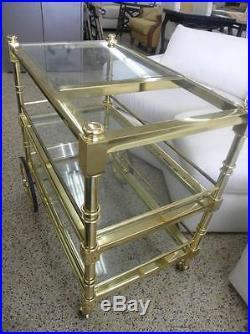MID CENTURY BRASS GLASS HOLLYWOOD REGENCY BAR SERVING CART MAISON JANSEN ERA