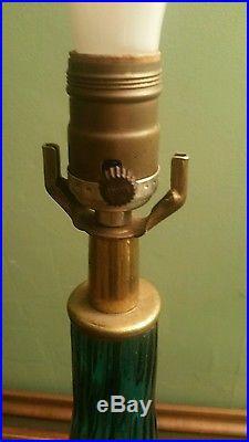 MID CENTURY HAND BLOWN AQUA BLUE GLASS LAMP PAIR ITALIAN MURANO BLENKO
