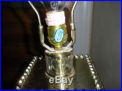 MID CENTURY HIGH DRAMA LOOK SCIOLARI GLASS ROD 3 WAY VTG LIGHT BRASS TABLE LAMP