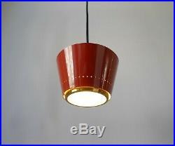 MID-CENTURY ITALIAN 1950s BRASS & GLASS PENDANT LIGHT Vintage, Stilnovo Style