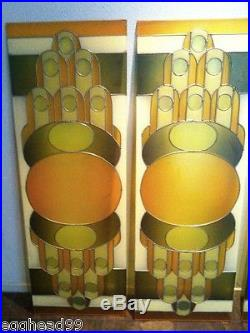MID CENTURY MODERN ART DECO Alexander Girard, Wright stained plexi glass PANELS