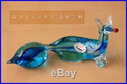 MID CENTURY MODERN BLUE GLASS FOX SCULPTURE! Vtg Murano Venetian Art 1950s Blown