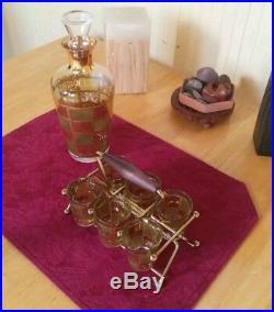 MID-CENTURY MODERN CULVER VTG 1950s 6 SHOT GLASS DECANTER CADDY SET ATOMIC GOLD