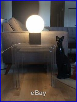 MID-CENTURY MODERN LAUREL CORK CUBE TABLE LAMP with GLASS SHADE MADE IN ITALY