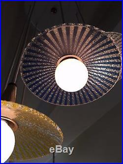 MID-CENTURY MODERN MOE CHANDELIER RARE 1963 8-Fixture Pendant Glass Spiral