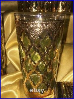 MID CENTURY MODERN SET OF 12 CULVER VALENCIA HIGHBALL Cocktail Glasses 22K
