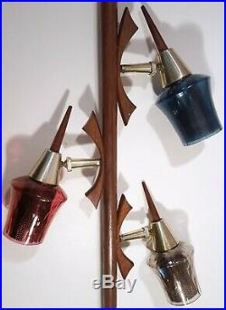 MID-CENTURY MODERN TENSION POLE LAMP DANISH TEAK w COLORED GLASS SHADES