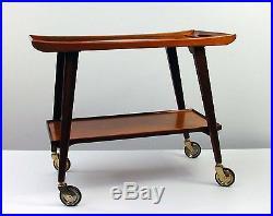 MID CENTURY Modern TEAK and Glass BAR CART Serving Cart by OPAL 1950s 1960s