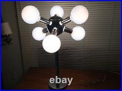 MID CENTURY SPUTNIK ATOMIC CHROME 6 BULB TABLE LAMP with Large Glass Bulbs
