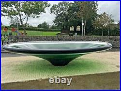 MID Century 60's Swedish Flygsfors Green Freeform Art Glass Bowl Paul Kedelv