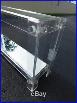 MID Century Lucite Long Ghost 2 Tier Console Table With Glass Tops