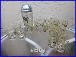 MID Century Modern 12 Musical Instruments Barware Shaker Ice Bucket Glasses Set