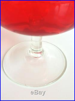 MID Century Modern Empoli Glass Apothecary Jar Red Orange Italian 20 Tall