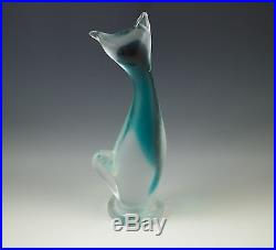 MID Century Murano Glass Cat Figurine Sommerso Blue Satin 9 Orig Sticker