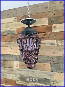 MID Century Purple Glass Cage Blown Lantern Hanging Bubble Light Murano Seguso