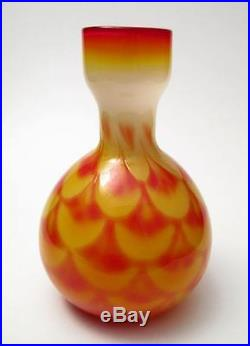 MID Century Scandinavian Elme Glasbruk Cased Peacock Feathered Glass Vase Sweden