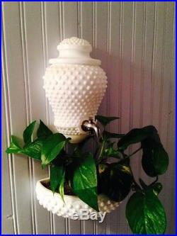 MID Century Vintage Fenton Milk Glass Hobnail Wall Fountain