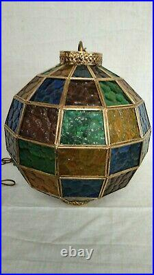 MID Century Vintage Hanging Swag Stained Glass Globe Lamp Light