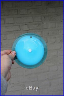 MURANO VISTOSI 24 glass disc turquoise blue chandelier retro 1970 mid century