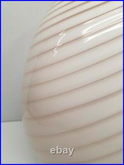 Maestri Murano 17 White Swirl Glass Egg Lamp 1970's Vintage Mid Century Modern