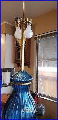 Marbro Company Vintage Murano Mid Century Lamp Rare Blue Venetian Glass