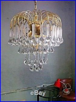 Massive Mid Century Paolo Venini Murano glass Drops Chandelier lamp Italy 1960s
