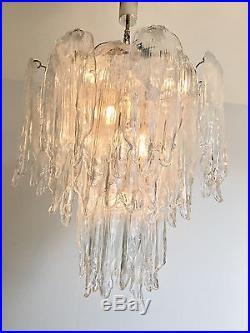 Mazzega Ice Glass Chandelier 1960s Mid Century Modern