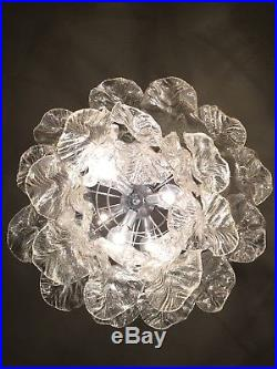 Mazzega Vitossi Nason Venini Mid Century Glass Chandelier, Italy 1960s Flower