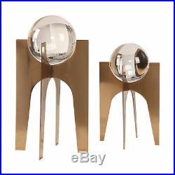 MidCentury Modern Crystal Ball Sculpture Set Copper Bronze Glass Sphere Pedestal