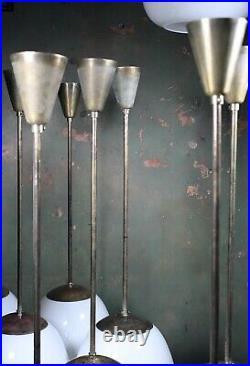 Mid 20th Century Extra Large Glass Opaline & Brass Tulip Pendants Lights Vintage