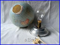 Mid Century 1950s French Terrestrial Glass Globe Lamp Light CARTES TARIDE PARIS