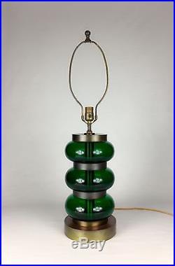 Mid Century 1950s Paul Hanson Green Glass Table Lamp